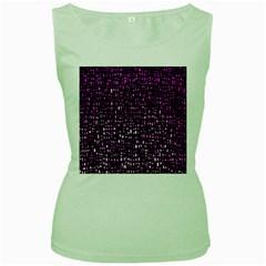 Purple Denim Background Pattern Women s Green Tank Top