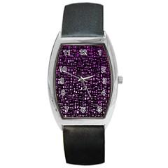 Purple Denim Background Pattern Barrel Style Metal Watch
