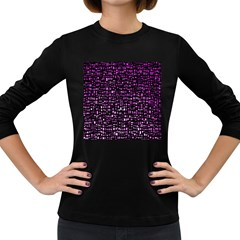 Purple Denim Background Pattern Women s Long Sleeve Dark T Shirts