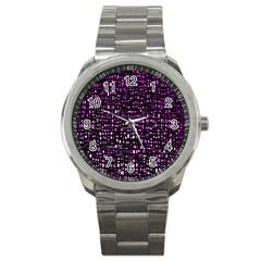 Purple Denim Background Pattern Sport Metal Watch
