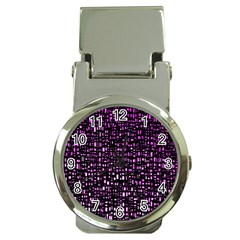 Purple Denim Background Pattern Money Clip Watches