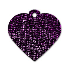 Purple Denim Background Pattern Dog Tag Heart (One Side)