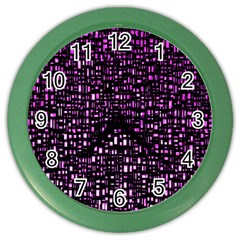 Purple Denim Background Pattern Color Wall Clocks