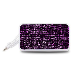 Purple Denim Background Pattern Portable Speaker (White)