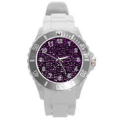 Purple Denim Background Pattern Round Plastic Sport Watch (L)