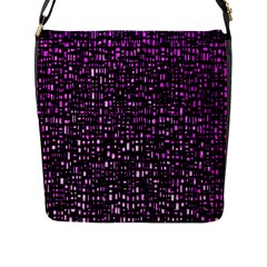 Purple Denim Background Pattern Flap Messenger Bag (L)