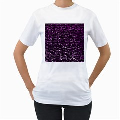 Purple Denim Background Pattern Women s T-Shirt (White)
