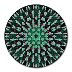 Abstract Green Patterned Wallpaper Background Round Mousepads