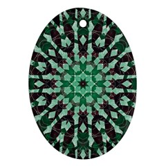 Abstract Green Patterned Wallpaper Background Ornament (Oval)