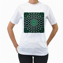 Abstract Green Patterned Wallpaper Background Women s T-Shirt (White) (Two Sided)