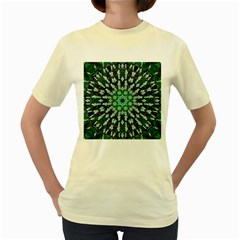 Abstract Green Patterned Wallpaper Background Women s Yellow T Shirt