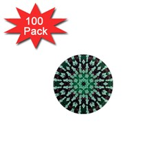 Abstract Green Patterned Wallpaper Background 1  Mini Magnets (100 pack)