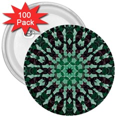 Abstract Green Patterned Wallpaper Background 3  Buttons (100 pack)
