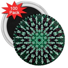 Abstract Green Patterned Wallpaper Background 3  Magnets (100 pack)