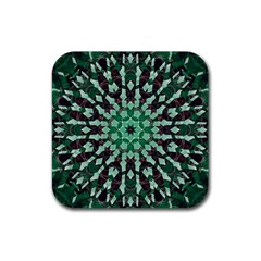 Abstract Green Patterned Wallpaper Background Rubber Coaster (square)