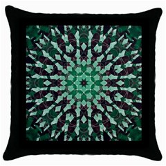 Abstract Green Patterned Wallpaper Background Throw Pillow Case (Black)