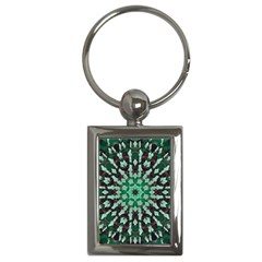 Abstract Green Patterned Wallpaper Background Key Chains (Rectangle)