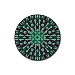 Abstract Green Patterned Wallpaper Background Rubber Round Coaster (4 pack)