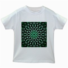 Abstract Green Patterned Wallpaper Background Kids White T-Shirts