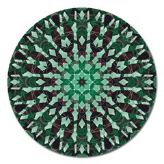 Abstract Green Patterned Wallpaper Background Magnet 5  (Round)