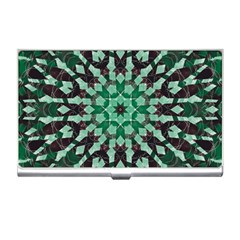 Abstract Green Patterned Wallpaper Background Business Card Holders