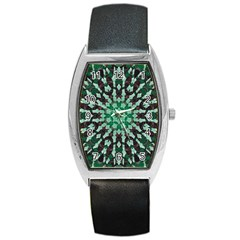 Abstract Green Patterned Wallpaper Background Barrel Style Metal Watch
