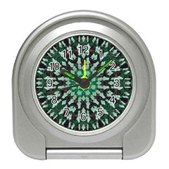 Abstract Green Patterned Wallpaper Background Travel Alarm Clocks