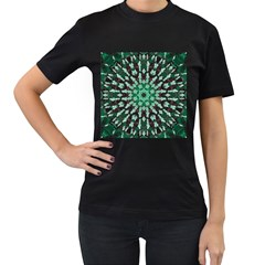 Abstract Green Patterned Wallpaper Background Women s T-Shirt (Black) (Two Sided)