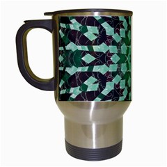 Abstract Green Patterned Wallpaper Background Travel Mugs (white)