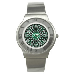 Abstract Green Patterned Wallpaper Background Stainless Steel Watch
