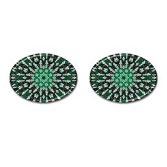 Abstract Green Patterned Wallpaper Background Cufflinks (Oval)