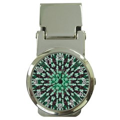 Abstract Green Patterned Wallpaper Background Money Clip Watches