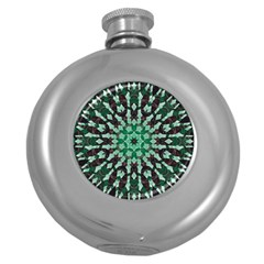 Abstract Green Patterned Wallpaper Background Round Hip Flask (5 oz)