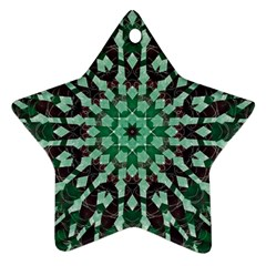 Abstract Green Patterned Wallpaper Background Star Ornament (Two Sides)