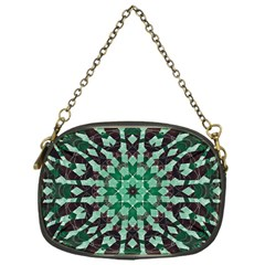 Abstract Green Patterned Wallpaper Background Chain Purses (one Side)