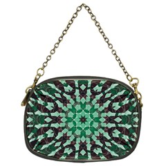 Abstract Green Patterned Wallpaper Background Chain Purses (Two Sides)