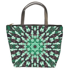 Abstract Green Patterned Wallpaper Background Bucket Bags