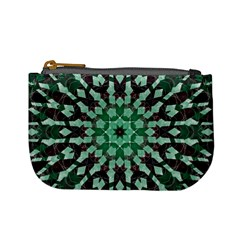 Abstract Green Patterned Wallpaper Background Mini Coin Purses