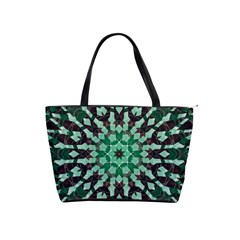 Abstract Green Patterned Wallpaper Background Shoulder Handbags