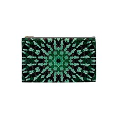 Abstract Green Patterned Wallpaper Background Cosmetic Bag (Small)