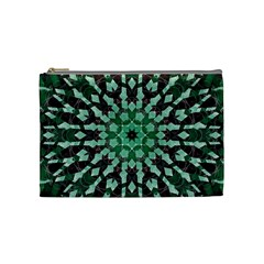Abstract Green Patterned Wallpaper Background Cosmetic Bag (medium)