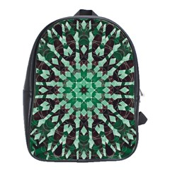 Abstract Green Patterned Wallpaper Background School Bags(Large)