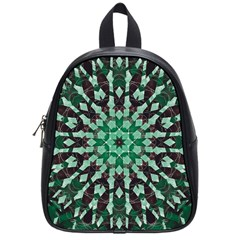 Abstract Green Patterned Wallpaper Background School Bags (Small)