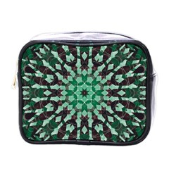 Abstract Green Patterned Wallpaper Background Mini Toiletries Bags