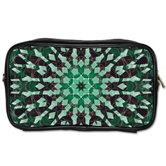 Abstract Green Patterned Wallpaper Background Toiletries Bags