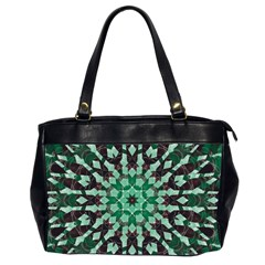 Abstract Green Patterned Wallpaper Background Office Handbags (2 Sides)