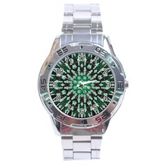 Abstract Green Patterned Wallpaper Background Stainless Steel Analogue Watch