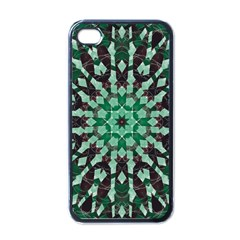 Abstract Green Patterned Wallpaper Background Apple iPhone 4 Case (Black)
