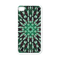 Abstract Green Patterned Wallpaper Background Apple iPhone 4 Case (White)