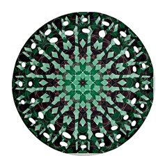 Abstract Green Patterned Wallpaper Background Round Filigree Ornament (Two Sides)